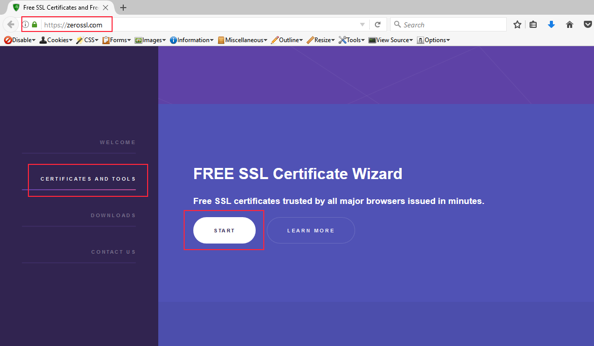 Manual procurement of lets encrypt free ssl certificate through go to certificates and tools section of the website and click the start button xflitez Gallery